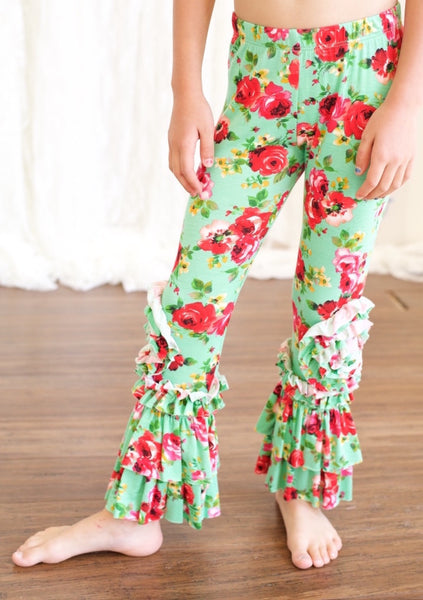 Peony Legging-Mint Floral