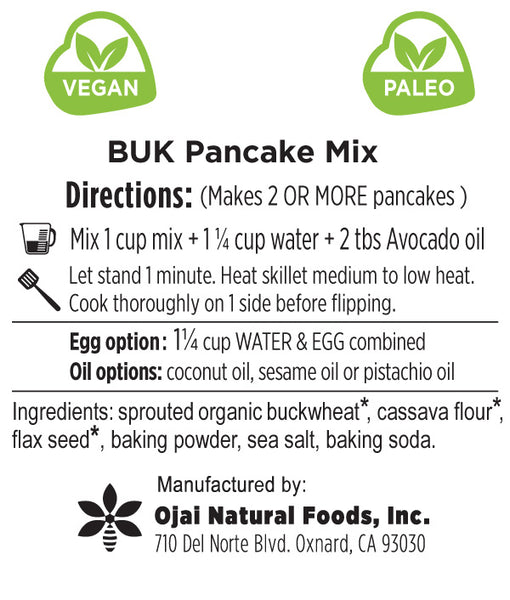 BUK Pancake Mix - Sprouted Buckwheat - gluten-free grain free