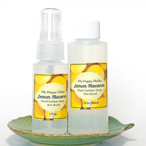 Lemon Macaron Hand Sanitizer Spray 80% Alcohol - 1oz + 2oz Refill