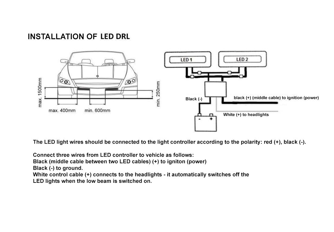 Led Drl Wire Diagram Electrical Wiring Diagrams Lights 2x White 12 Flexible Car Daytime Running Light Fog Day 12v