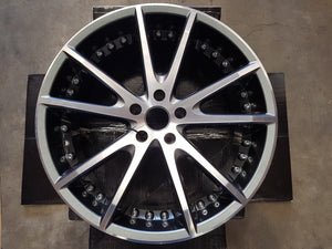 20x9inch WHEELS FORD FALCON BA BF FG FGX SET OF 4 POLISHED FACE CHARCOAL INSIDE