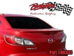MAZDA 3 SEDAN LIP REAR SPOILER UNPAINTED 2009 - 2014