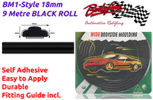 BM1-Style 18mm 9 Metre BLACK ROLL Wheel Arch Bumper Insert Moulding Striping for Car Boat Trim