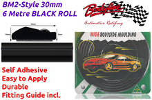 BM2-Style 30mm 6 Metre BLACK ROLL Wheel Arch Bumper Insert Moulding Striping for Car Boat Trim