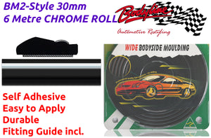 BM2-Style 30mm 6 Metre CHROME & BLACK ROLL Wheel Arch Bumper Insert Moulding Striping for Car Boat Trim