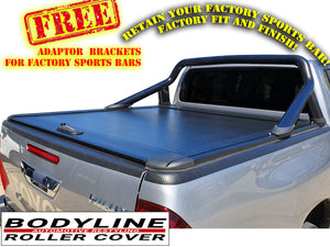 TOYOTA HILUX REVO DUAL CAB 2015on ROLLER SHUTTER COVER Tonneau suits Factory Sports Bar Secure