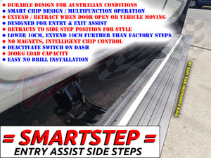 NISSAN NAVARA NP300 DUAL CAB 2015on SMARTSTEP ENTRY ASSIST SIDE STEPS RUNNING BOARDS