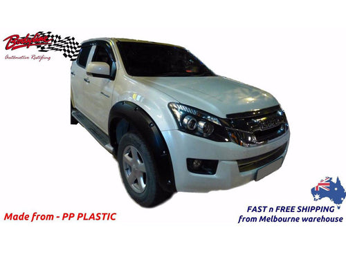 ISUZU D MAX 2013on FRONT FENDER FLARES WHEEL ARCH PAINTED MATTE BLACK (FRONT ONLY)