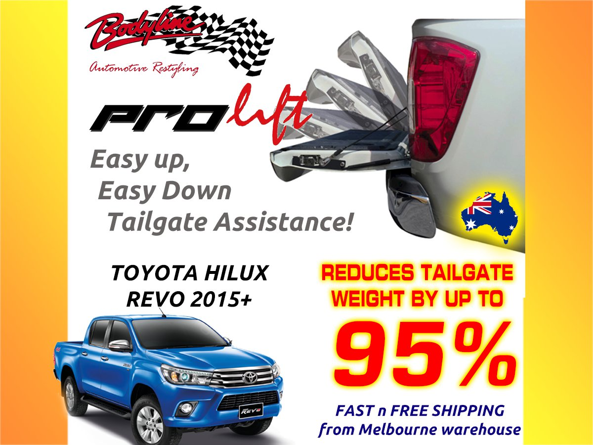 ... TOYOTA HILUX REVO 2015on ProLift Slow Down & Easy Lift Up Tailgate  ASSIST STRUT KIT ...