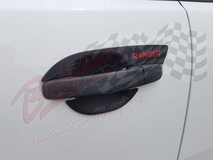 FORD RANGER PX PX2 2012on DOOR CUP INSERTS - BLACK with RED RANGER LOGO