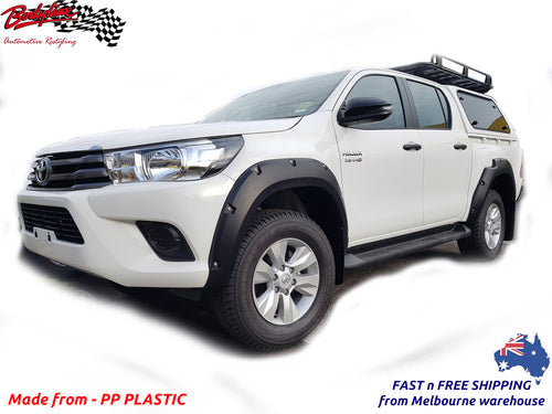 TOYOTA HILUX REVO 15-18 FENDER FLARES WHEEL ARCH PAINTED MATTE BLACK