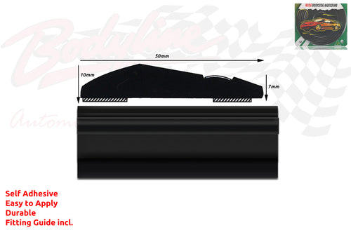 BM3-Style 50mm 6 Metre BLACK ROLL Wheel Arch Bumper Insert Moulding Striping for Car Boat Trim