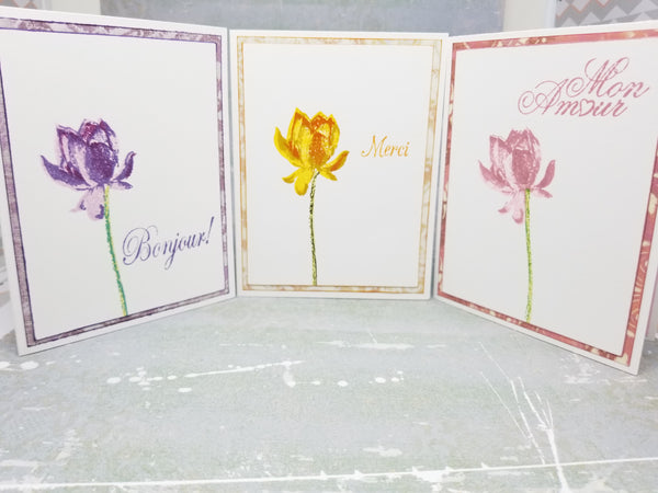 3 Piece French Inspired Lotus Flower Greeting Card Set - Thank You, Love, Hello
