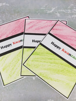 3 Piece Happy Kwanzaa Water Color Greeting Card Set