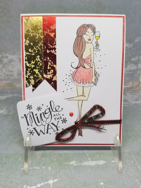 3 Piece Fashionista Girl Ready To Mingle Holiday Greeting Card Set