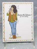 "Coffee Sipping Fall Themed ""Be The Woman..."" Single Greeting Card"