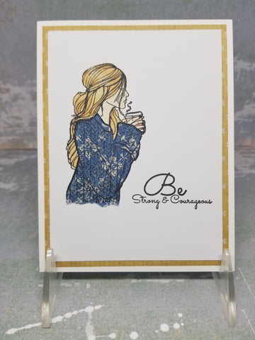 Coffee Sipping Woman Be Courageous Single Greeting Card