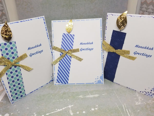 3 Piece Hanukkah Candle Greeting Card Set