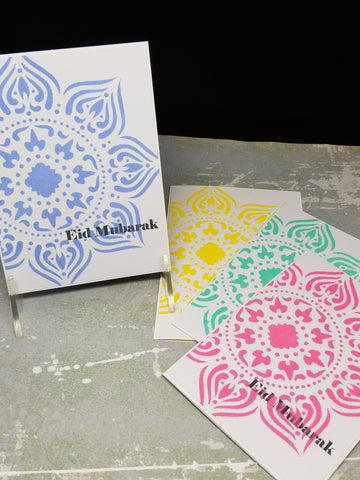4 Piece Eid Mubarak Moroccan Mandala Multi-Colored Ramadan Eid Cards