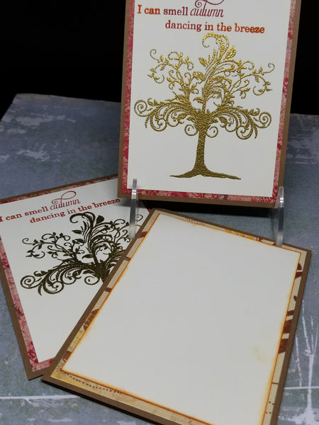 3 Piece Autumn Themed Blank All Occasion Greeting Card Set