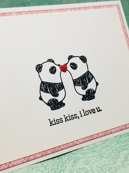 Single Greeting Card Kissing Panda Bears