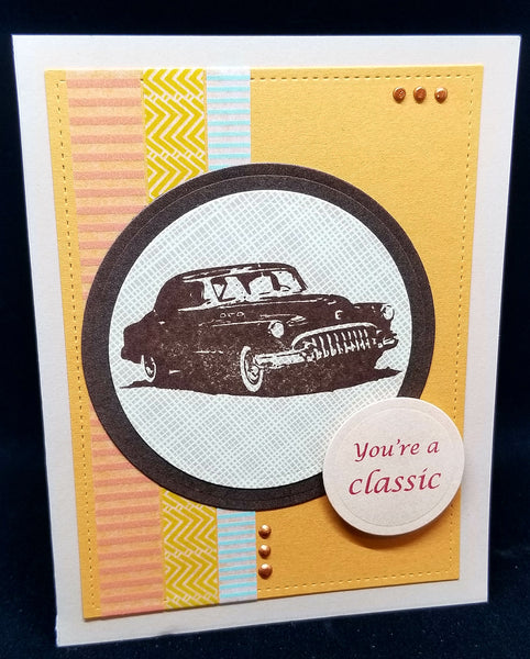 Single Fathers Day Classic Car Masculine Greeting Card