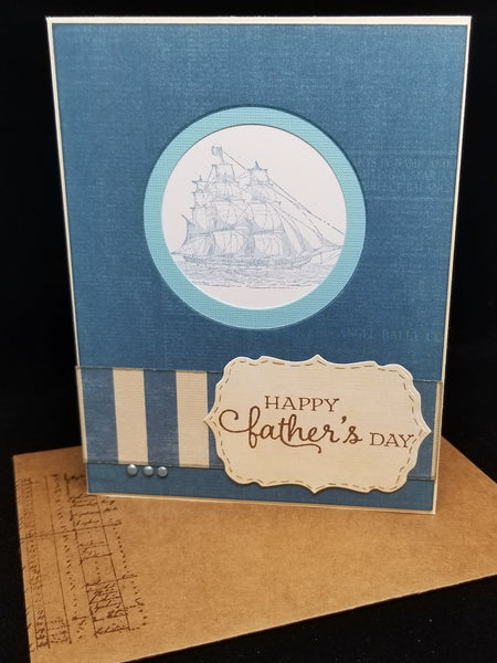 Single Happy Fathers Day Sailboat Themed Greeting Card