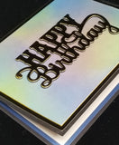Single Happy Birthday Golden Script Masculine Greeting Card