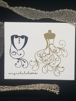 Single Bride and Groom Embossed Wedding Card