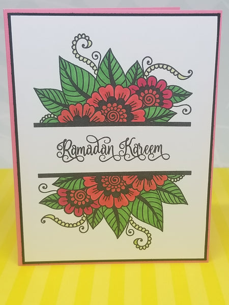 Single Ramadan Kareem Hand Colored Greeting Card