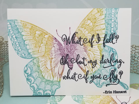 3 Piece Butterfly Encouragement Note Card Set