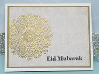 3 Piece Eid Mubarak Golden Mandala Greeting Card Set