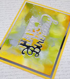 Single Abstract Color Wash Happy Birthday Card