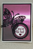 Single Hot Pink Striped Foil Friendship Card