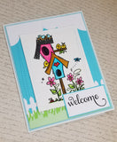 Single House Warming Welcome To The Neighborhood Birdhouse Greeting Card