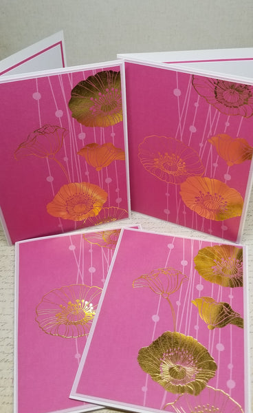 4 Piece Gold Foil Poppy Blank Greeting Card Set