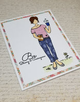 Single Strong and Courageous Coffee Sipping Feminine Card