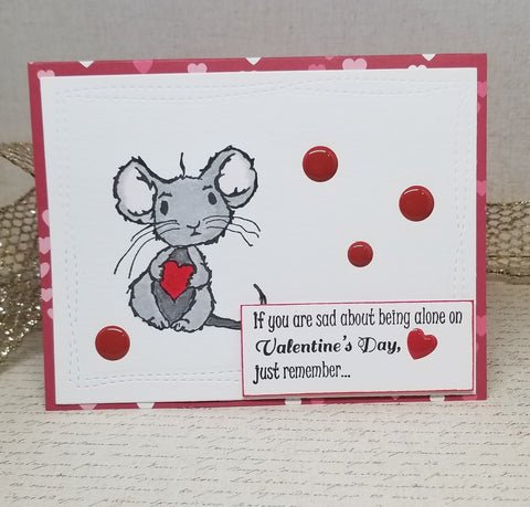 Single Snarky Mouse Valentines Day Card