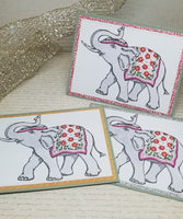 Three Piece Indian Elephant Blank Greeting Card Set