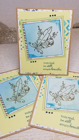 3 Piece Blank Rest Still Breath Blank Greeting Card Set