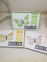 3 Piece Sheet Music Butterfly Thank You Note Card Set