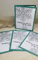 4 Piece Silver Snowflake Chroatmas Card Set