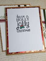 3 Piece Holly Jolly Christmas Holiday Greeting Card Set