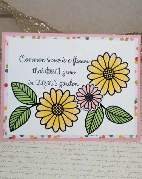 Single Common Sense Floral Note Card