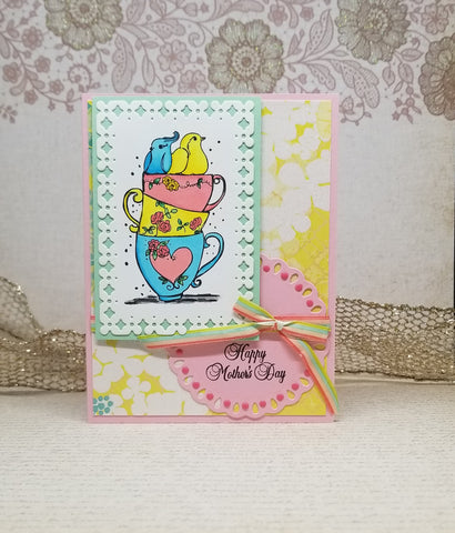 Single Birds In Tea Cups Mother's Day Card