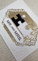 Single Puzzle Piece Bride and Groom Wedding Card