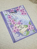 Single Tri-Lilac Themed Purple Greet9ng Card
