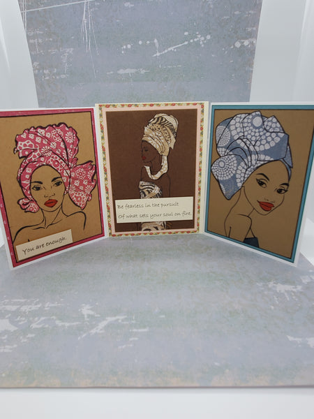 3 Piece African Queen Blank Card Set