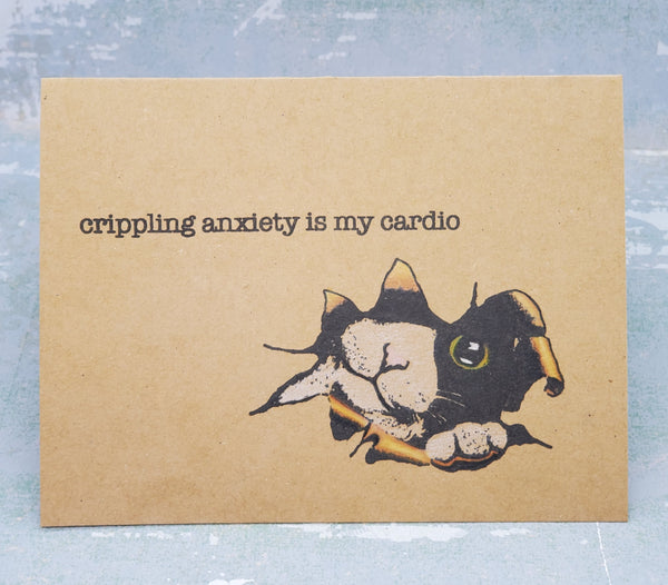 Single Anxious Cat Greeting Card
