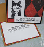 Singe Caffeinated Cat Greeting Card